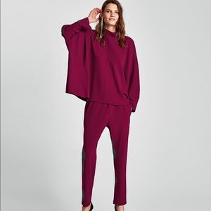 ZARA Purple High Neck Top And Jogger